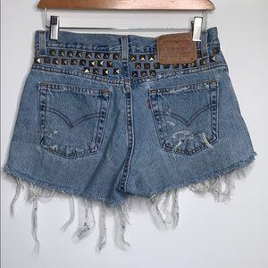 LEVI'S • Ripped Cut Off Denim Studded Shorts